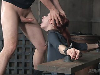 Kinky master removes Violet Monroe's ball gag to stuff their way nigh cock