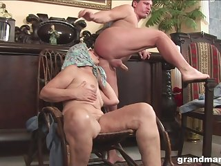 Mature granny with glasses licks ass and rides cock