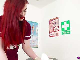 Red haired busty nurse close by uniform Jaye Salmon-coloured sucks and jerks off hard penis
