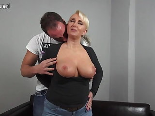 Sexy heavy breasted German mom fucking young boy