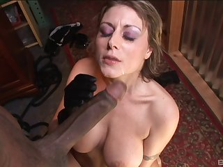 Mature Velicity Von feeds her shaved pussy with friend's long pecker