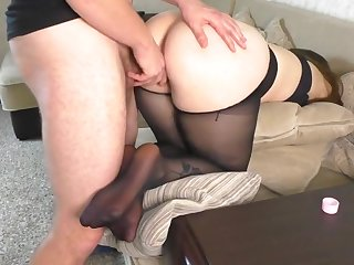 Teen Cram Teacher after Work gave their way Big Pain in the neck in Pantyhose