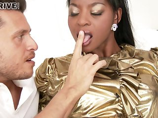 Interracial bonking with ebony pamper Krystal Niles in clothing