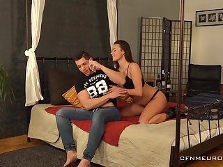Persuasive GF introduces her BF to pegging and she is duo relentless bitch