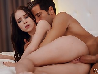 Pale girl Nata Ocean lays on her back to be fucked smooth wide of her man