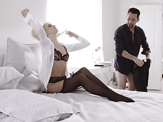 Blonde darling Kenna James regarding stockings and lingerie fucked good