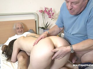 Sweet be enamoured of pleases these old guys with one last fuck