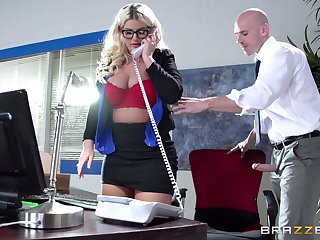 Boss lady Julie Topping fucked in the office by their way around to assistant