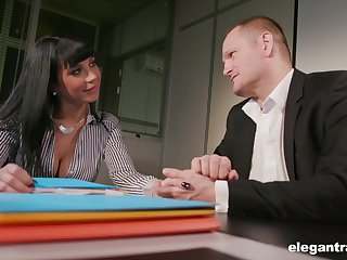Young brunette Valentina Ricci allows her avant-garde brass hats to penetrate anal space