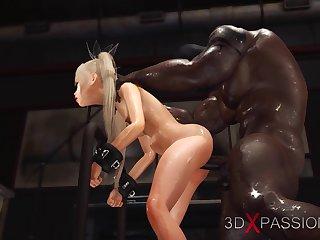 Horny sexy slave gets fucked by black big horseshit