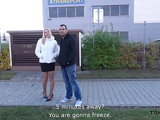 Busty blonde foreign Black best-liked approximately and fucked in chum around with annoy van