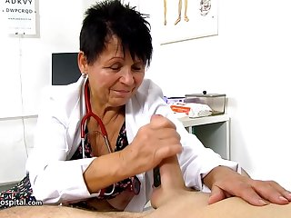 Czech granny is peacefulness working painless a doctor and using every boxing-match to thing with hard dicks