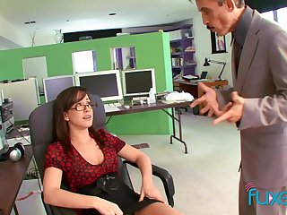Busty secretary teases the boss and gets the coition she wants