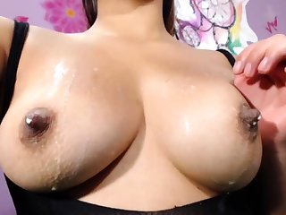 German spread out connected with pierced nipples playing
