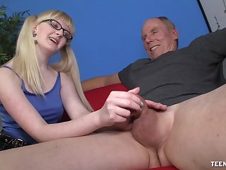 Slutty young whore wants this old male's gargantuan dick in her ass