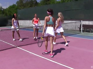 Tennis is always fun when Cayla Lyons together with her girlfriends are playing