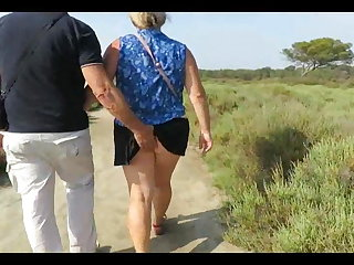 Older French couple bonking in the woods