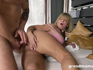 Granny takes her dose of cock in a rough XXX