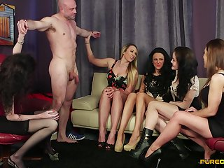Robust alms-man gets his dick pleasured by Dolly Diore and her friends