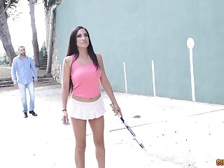 Spanish milf beyond touching short tennis chick gives a blowjob and gets laid beyond the court