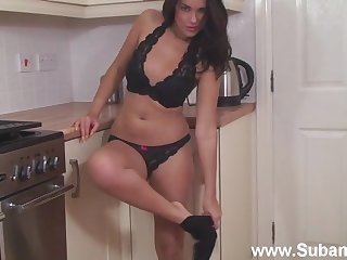 Fit irritant wife Ava teases in the kitchen and fingers her pink taco