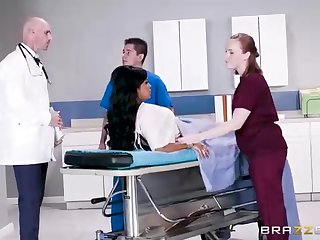 Buxom dark-hued woman with a adorable tat, Mary Jean is taking will not hear of doctor's massive man-meat, in his office